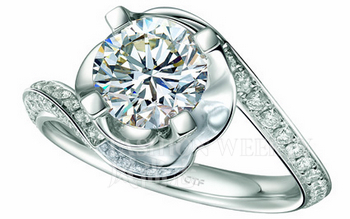 周大福唯爱经典系列钻石戒指