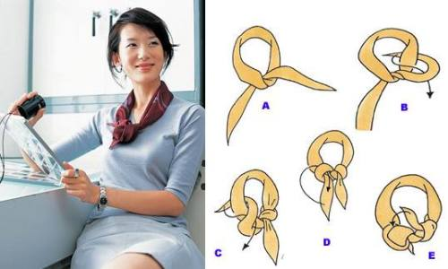 丝巾系法图片