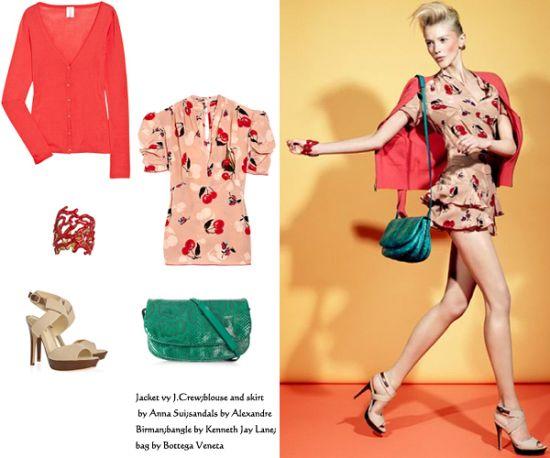 红色的羊绒开衫配以樱桃花色的连衣短裙