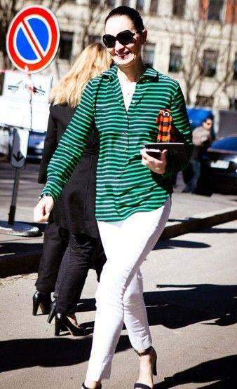 白色牛仔裤 女魔头最爱的四季街拍单品