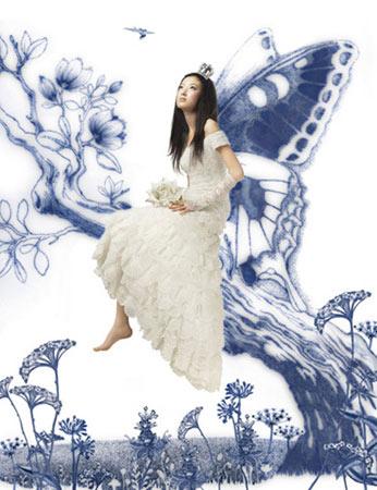 青花瓷创意的婚纱照(组图)