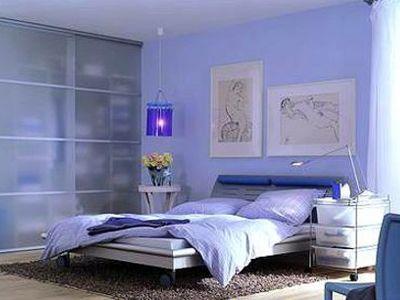 淡蓝色法式欧式卧室图片