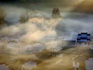 汪落川作品《晨雾缭绕舞山村》