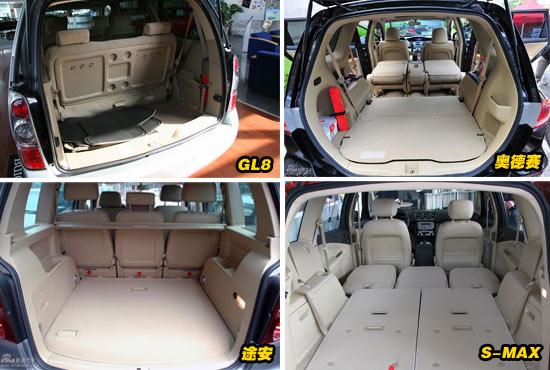 福特S-MAX车上有多达26处收藏空间,诸如前排座椅下的储物盒,第二排座椅前的地板暗槽,贴心便利的人性化设计随处可见。在S-MAX上,这款车子的第二排座椅和第三排座椅都可以独立的完全放平,以便车主可以灵活的把控车内空间。在第三排座椅完全收起时,S-MAX的后备箱空间可以到达854升,在后排座椅全部放平时,便达到了最大容积2000升。同时,S-MAX的第二排的三个座椅与第三排两个座椅都可以单独折叠或收放,可以毫不费力玩出多达32种的座椅组合。   GL8三米多的轴距使其成为了四款车型中当之无愧的空间冠军