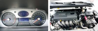 蓝色多瑙河仪表盘清晰易读。 吉利自主研发的全铝发动机