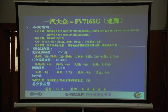 速腾牌/SAGITAR FV7166G型轿车碰撞测试数据