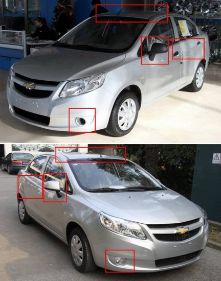 新赛欧高配和低配车型在雾灯、天窗、同色后视镜和门把手等方面都不同,但全系都采用的钢制轮毂)