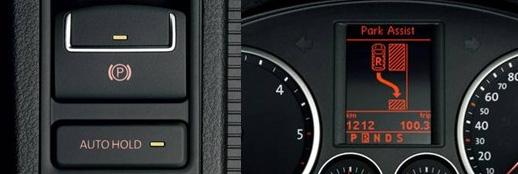 左:AUTO HOLD自动驻车系统,右:PLA自动泊车系统
