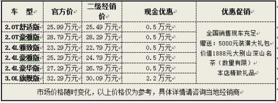 上海二级经销商君越优惠5千