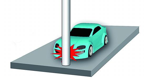 以30~35公里/小时以上的速度正面撞击不移动、不变形的水泥柱时;