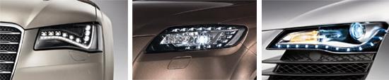 LED技术为大灯造型增色不已,赋予奥迪车型独特的个性魅力(图为A8、Q7、R8的前大灯细节)