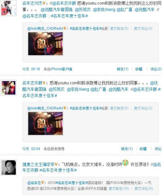 网友通过微博热烈讨论名车志年度十佳车颁奖