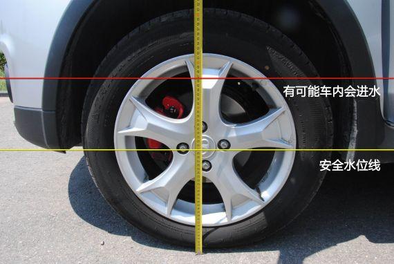 安全水位线以及可能会导致车内进水的水位线