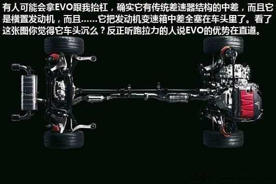 EVO这样前驱架构四驱的车头里塞进了一个发动机、一个变速箱、两个差速器和一套中央差速器控制系统