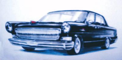 程正提供的照片,上图为克莱斯勒样车,下图为红旗设计图。东风轿车极大地鼓舞了当时的群众士气