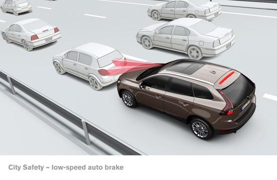 如果司机没有实施制动而系统测算碰撞即将发生,车辆将自动制动.