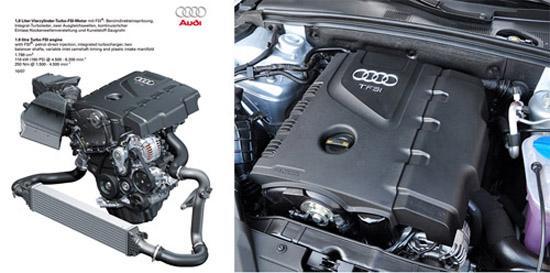 图10:奥迪Q5所搭载2.0TFSI缸内直喷汽油发动机与奥迪A4L车型之上的发动机一致,应用了三项发动机技术:涡轮增压、缸内直喷和AVS可变气门升程系统。