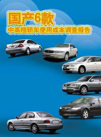 6款中高档轿车使用成本调查报告