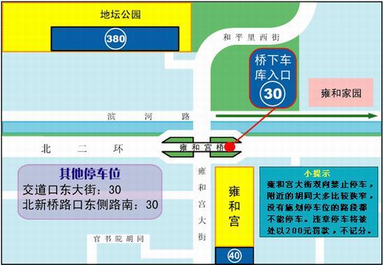 实用信息:北京雍和宫附近停车场位置示意图