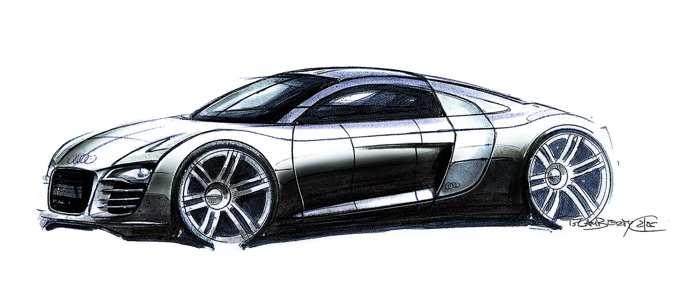 手绘 汽车设计图__绘画书法_文; 奥迪r8 08款 设计手稿; 奥迪r8跑车