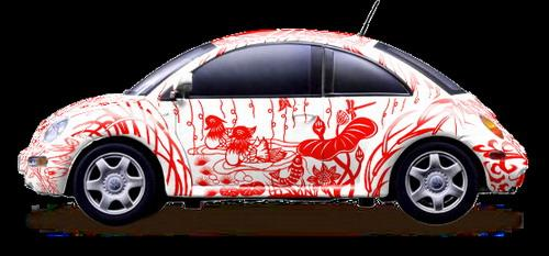 """""""中国剪纸概念甲壳虫""""-大众汽车 奥运绘 亮相艺术北京2007高清图片"""
