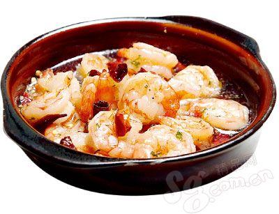 蒜味橄榄油烫虾仁