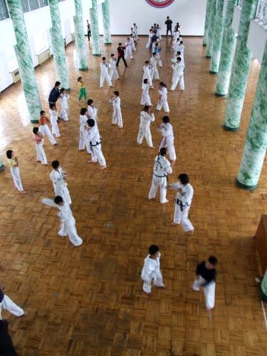 平壤少年宫的跆拳道训练。