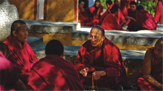 一般说来,辩经者由较优秀的僧人担任,其方式各寺不同,主要可分为对辩和立宗辩两种形式。色拉寺的辩经为立宗辩,辩经过程中可看到喇嘛们或高声怪叫,或舞动念珠、拉袍撩衣等各种表情和动作。