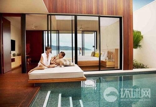 海曼岛别墅里的露天游泳池