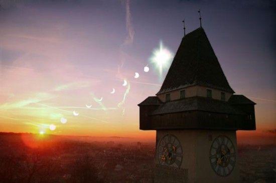 拍摄于奥地利的日食照片。