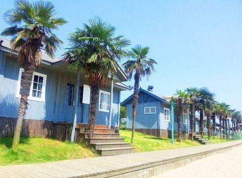 湖边的木房子 武汉梁子湖龙湾度假村
