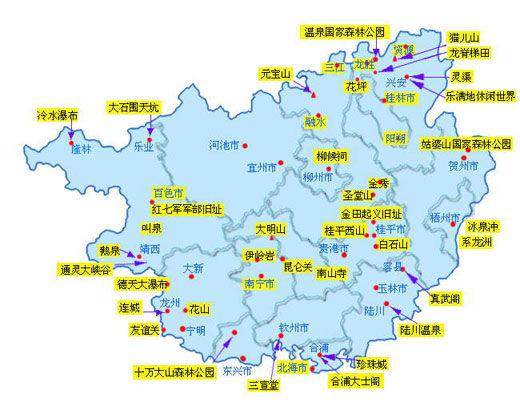 广西旅游资源地图 图/新华网