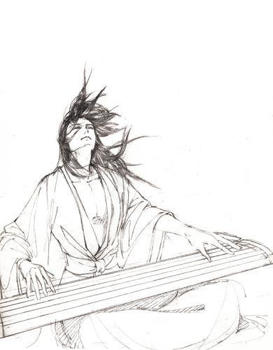 动漫美男手绘铅笔画