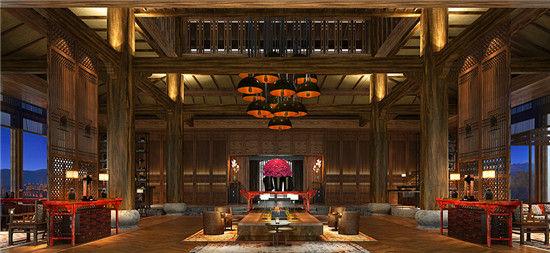 走进酒店大堂,铺石,仿古木地板和纳西风格的门板将空间划分开来.