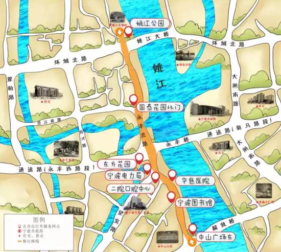 带着手绘地图骑行宁波_新浪旅游_新浪网