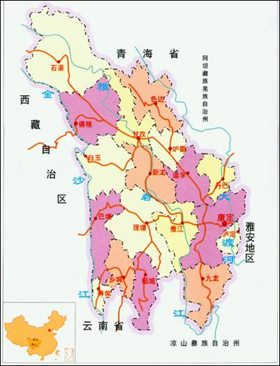 中国康定地图
