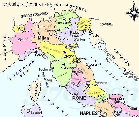 意大利 手绘地图