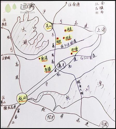 江南古镇分布示意图