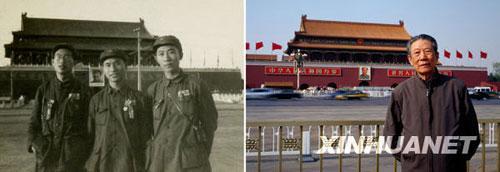 左图为1949年开国大典的前一天,杨振亚(右一)与两位战友在天安门前留影;右图为60年后的2009年,已经从八一电影制片厂退休的杨振亚再次站在同一地点拍照,两位战友已不在人世。黑明 摄(黑白照片为资料照片)