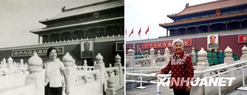 左图为1964年,32岁的陈士和在天安门前的金水桥上留影,当时她是山西省水利厅的一名工程师;右图为2009年,78岁的陈士和回国探亲时再次在金水桥上留影,这时她已经退休并定居美国。黑明 摄(黑白照片为资料照片)