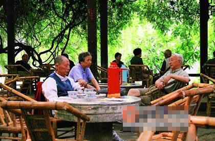 在人民公园内的鹤鸣茶社里,成都人的安逸写在脸上。