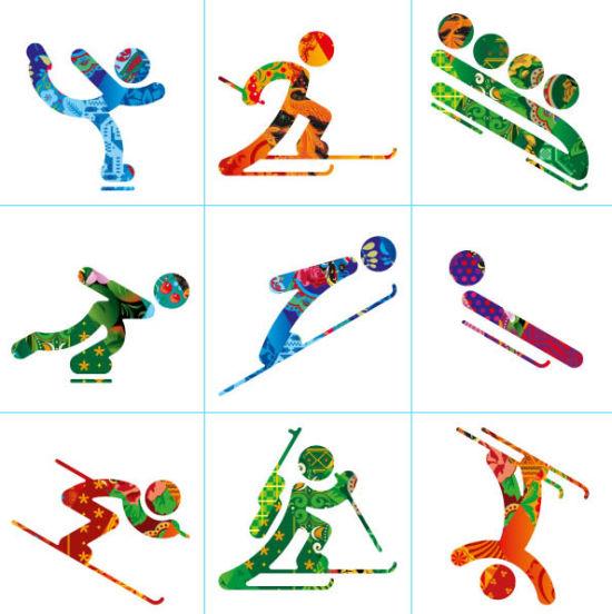 第一排左起花样滑冰、越野滑雪、有舵雪橇;第二排左起速度滑冰、跳台滑雪、无舵雪橇;第三排左起高山滑雪、冬季两项、自由式滑雪