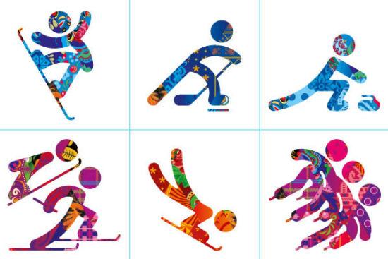 第一排左起单板滑雪、冰球、冰壶;第二排左起北欧两项、俯式冰橇、短道速滑