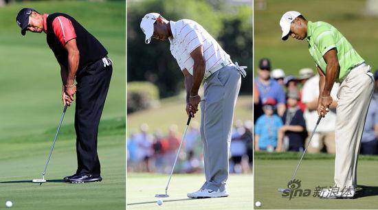 2013帕尔默赛伍兹推杆动作(左)2012帕尔默赛伍兹推杆动作(中)2010全美赛伍兹推杆动作(右)
