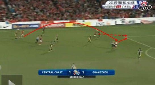 图12 孔卡斜传,郜林做球,穆里奇插上