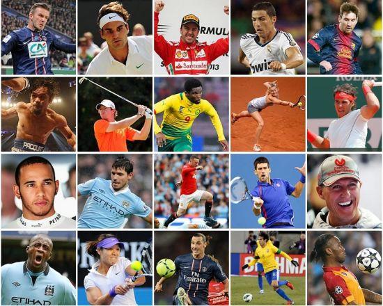 国际体坛收入前二十运动员(不含美国运动员)