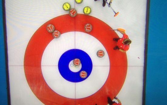 双方最后一投前,红色壶为英国队