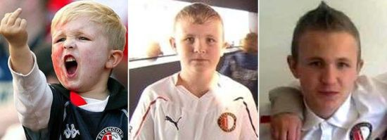 竖中指的小球迷叫米奇,如今他已长大了,现年17岁。