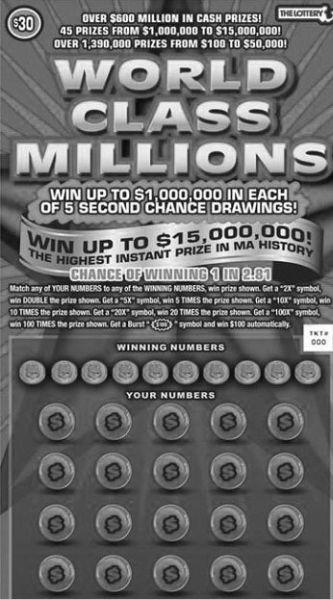 """马萨诸塞州30美元面值即开票""""世界级百万"""""""