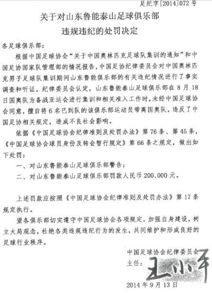 关于对山东鲁能泰山足球俱乐部违规违纪的处罚决定